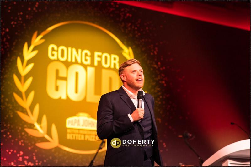 Rob Beckett presenting Papa John's Awards