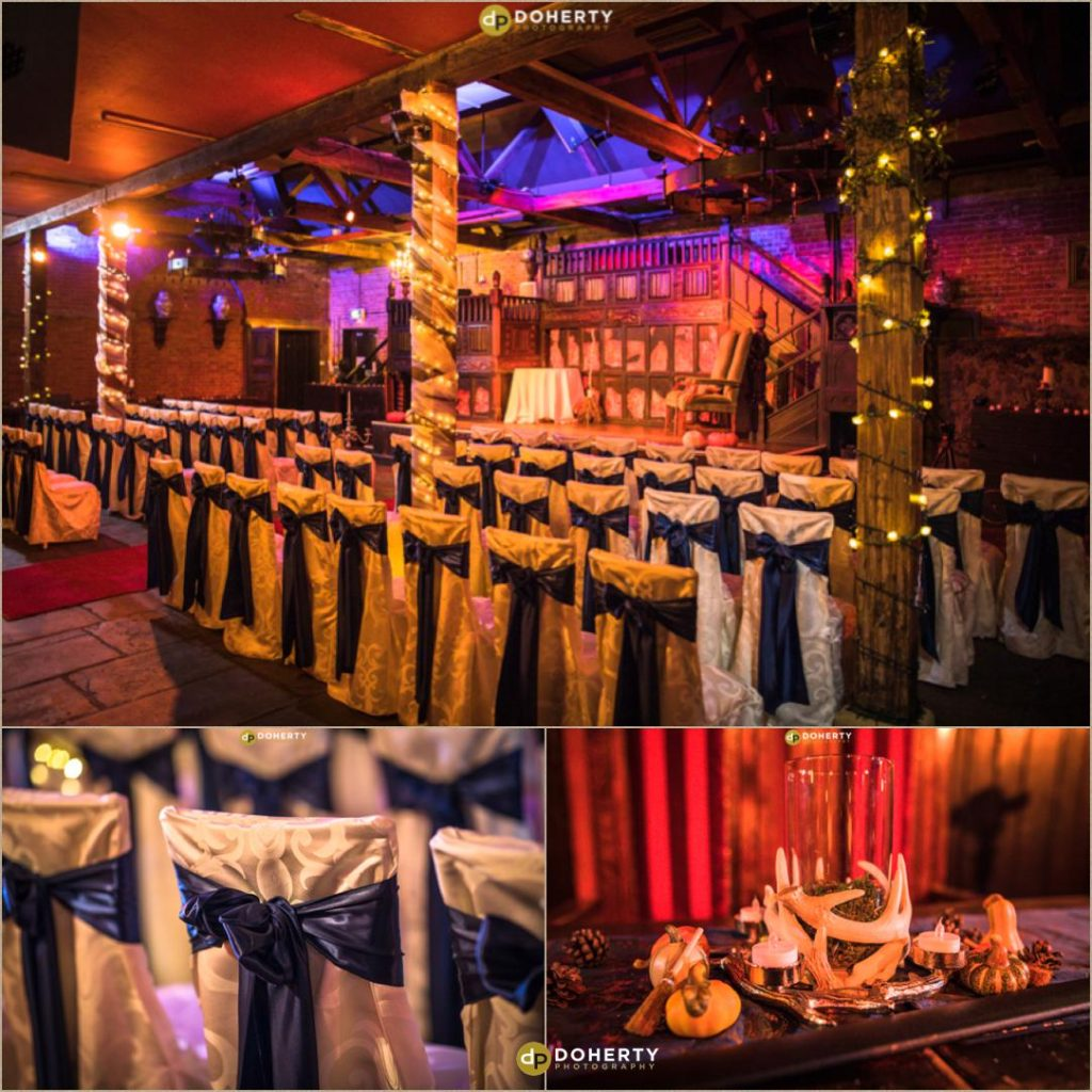 Abbeygate at Coombe Abbey dressed for Medieval Theme Wedding