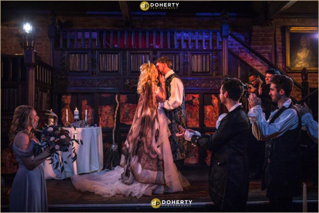 First Kiss at Medieval Theme Wedding