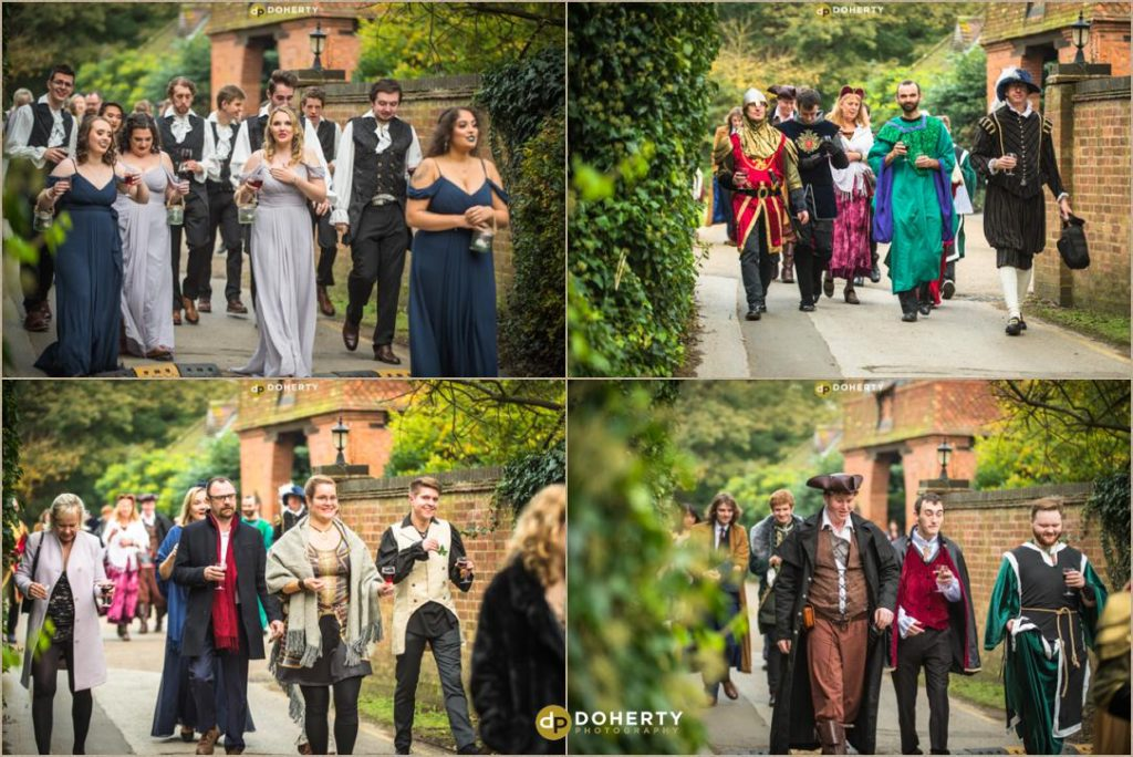 Guests at Medieval Theme Wedding at Coombe Abbey Hotel in Coventry