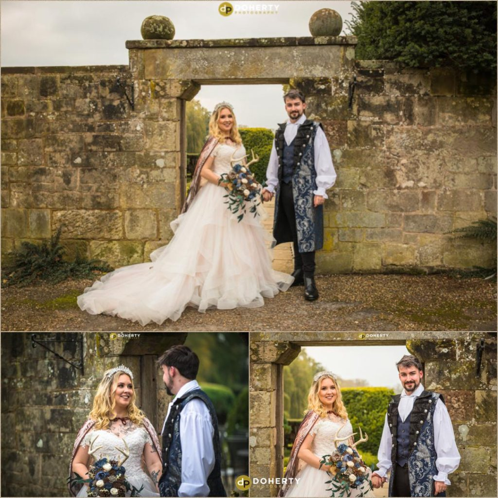 Bride and Groom at Coombe Abbey - Medieval Theme Wedding
