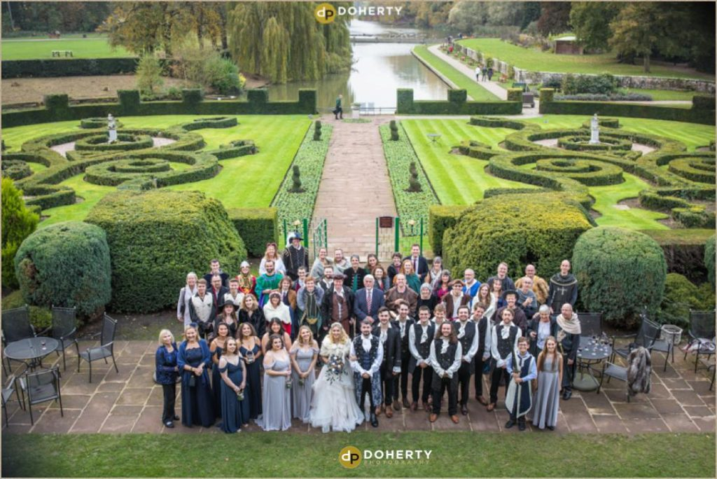 Group Photo at Coombe Abbey - Medieval Theme Wedding