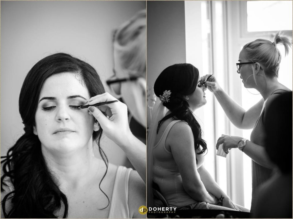 Bride preparations in morning