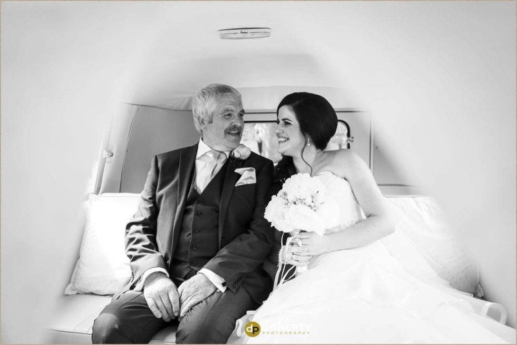 Bride and father moment in car