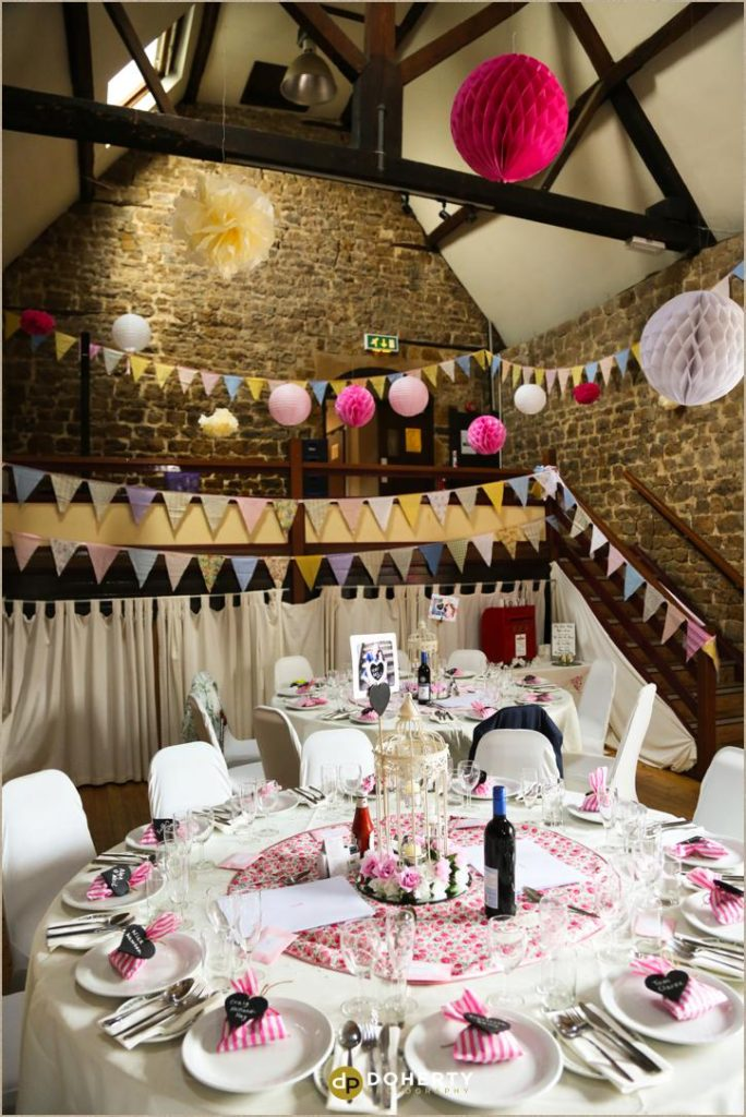 Room decor at The Barns at Hunsbury Hill Wedding