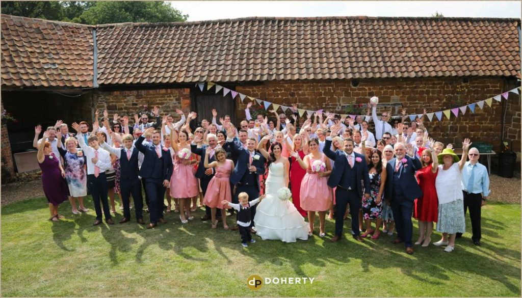 Large Group photos at The Barns at Hunsbury Hill Wedding