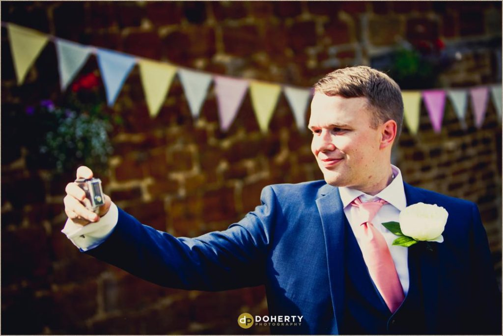 Groom selfie at The Barns at Hunsbury Hill Wedding