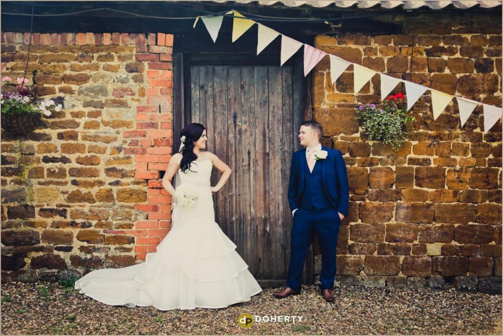 Bride and Groom at The Barns at Hunsbury Hill Wedding