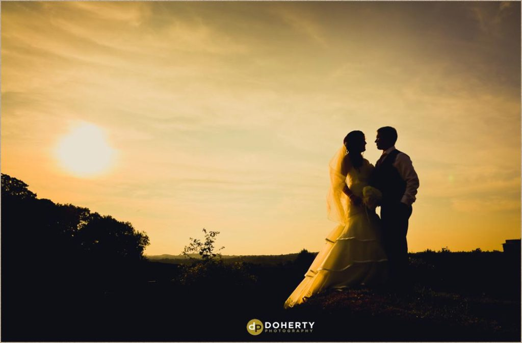 Sunset at The Barns at Hunsbury Hill Wedding