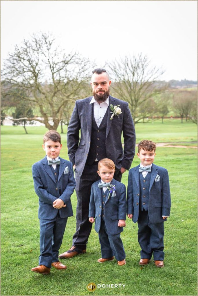 Groom and kids