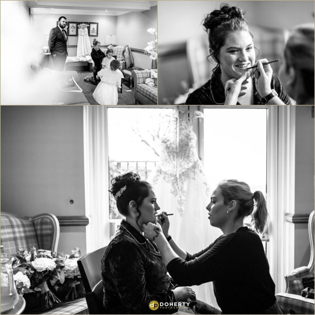 Bride preparations with make-up