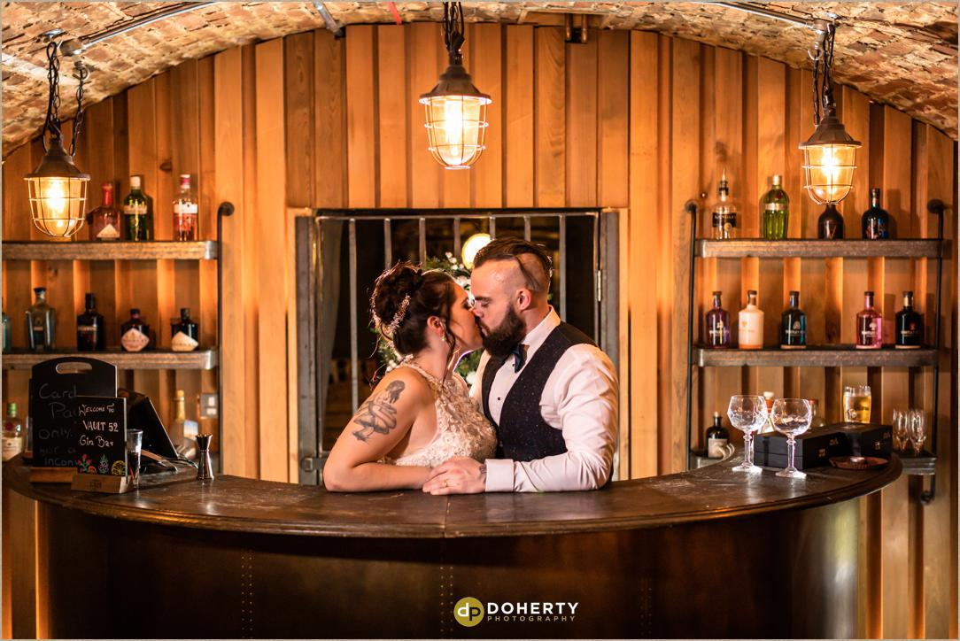 Bride and Groom in the Vault 52 bar at Windmill Village Hotel
