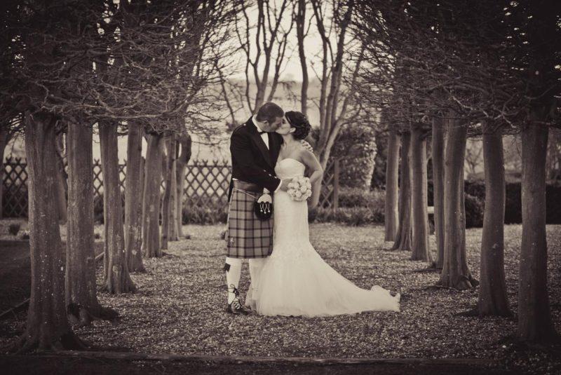 Fawsley Hall wedding couple