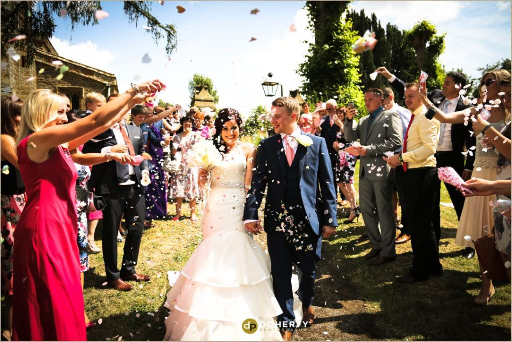 Northamptonshire wedding with confetti