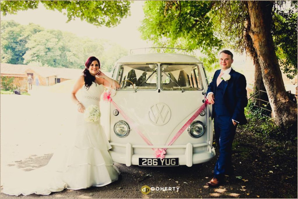 VW camper van at wedding