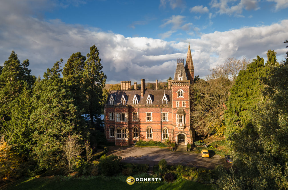 Brownsover Hall with a drone