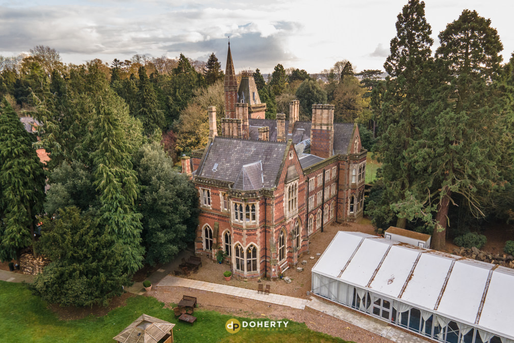Gothic building photographed with a drone