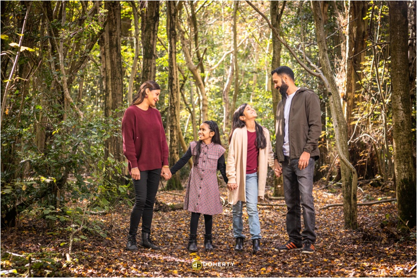 Outdoor family portraits in Woods inSolihull