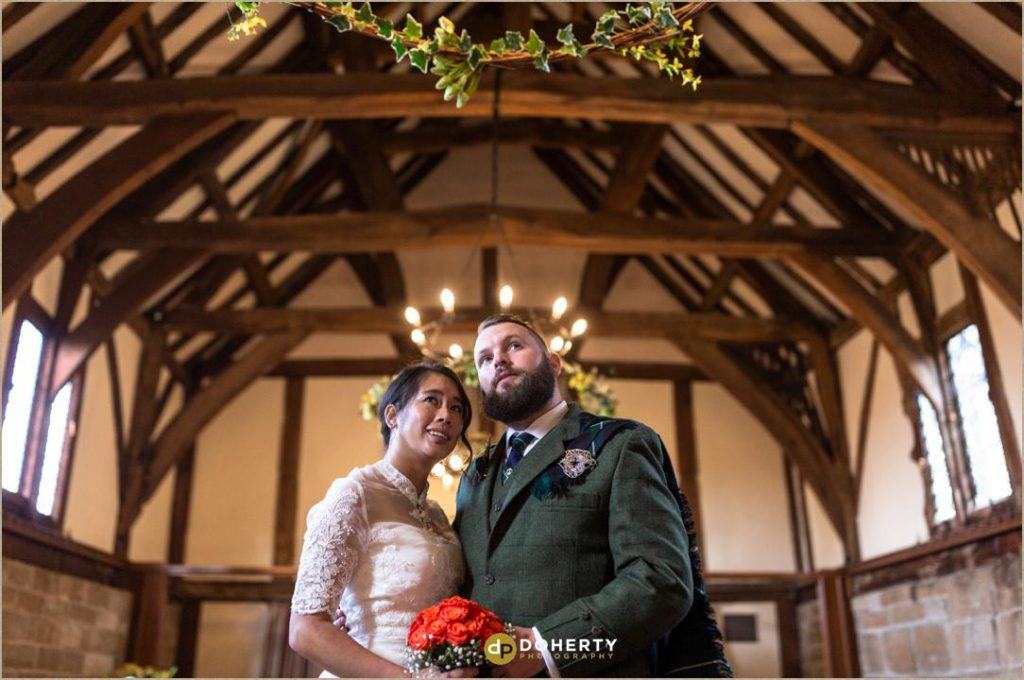 Bride and Groom inside the Lord Leycester