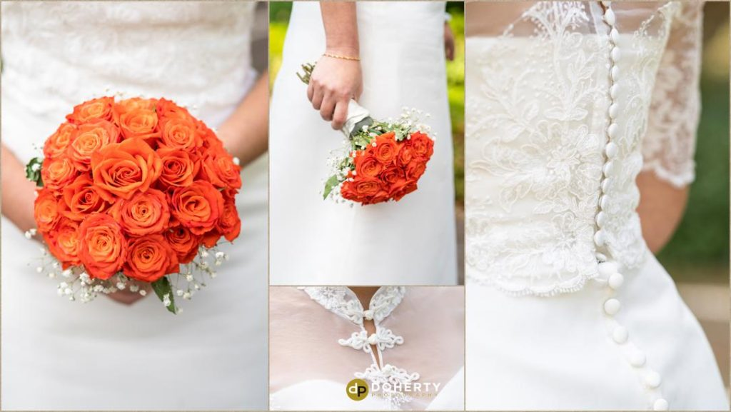 Bride dress and flowers