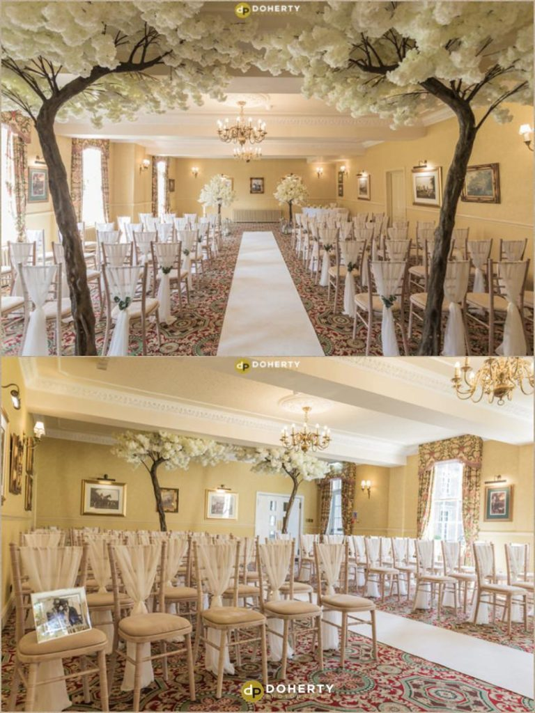 The Rose room dressed with trees for the wedding