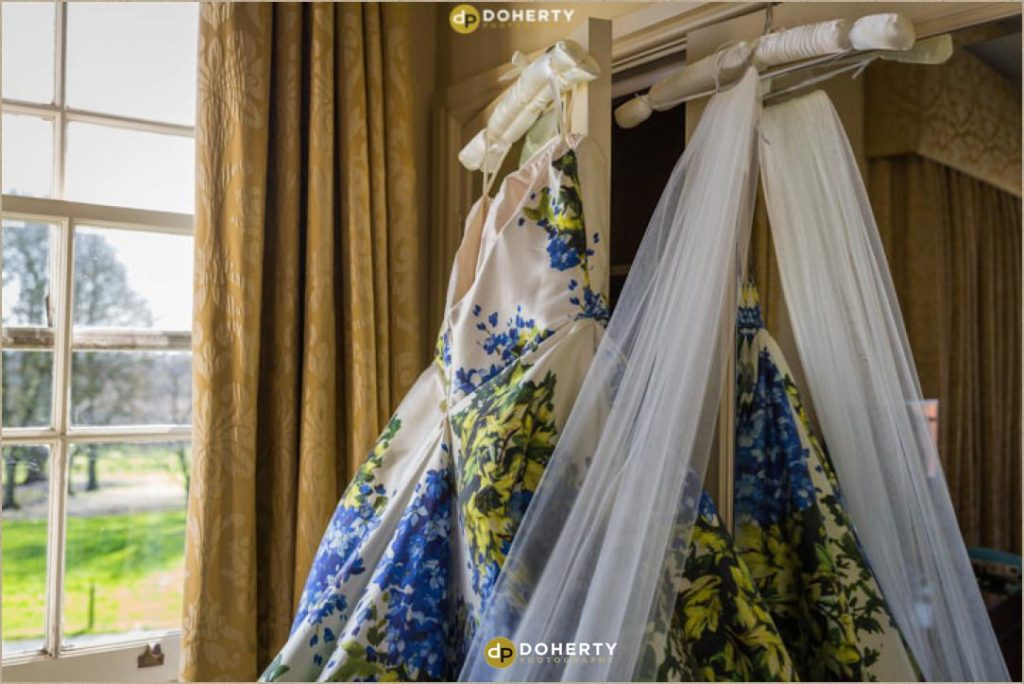 Wedding dress hanging up at Ansty Hall