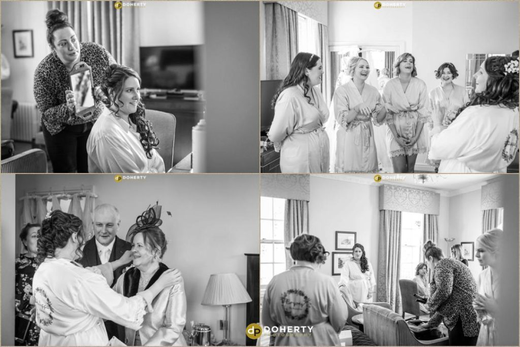 Bride and bridesmaids having fun in the morning
