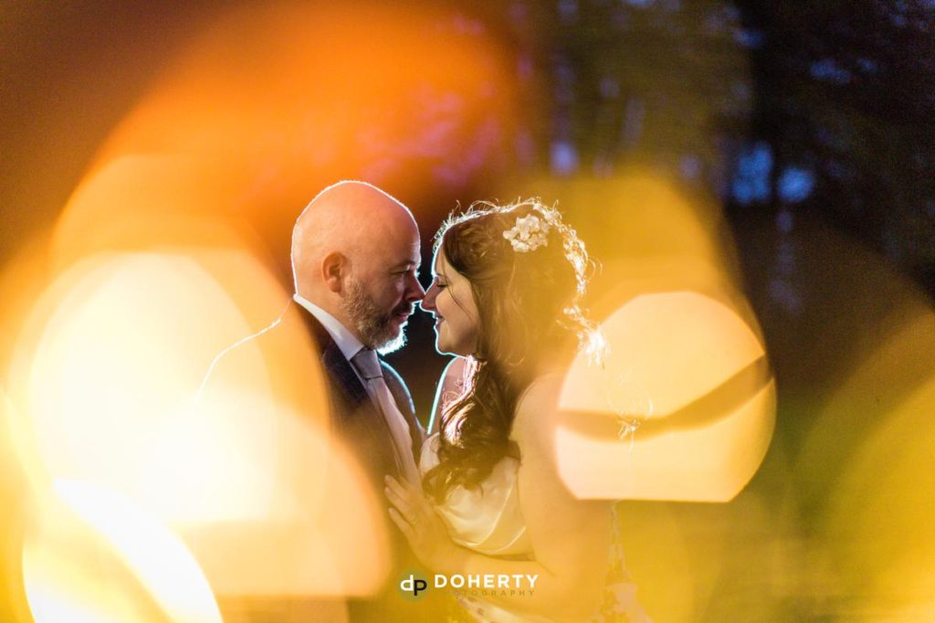 Bride and groom twilight photos at Ansty Hall