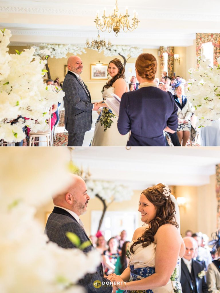 Bride and Groom making their vows at Ansty Hall