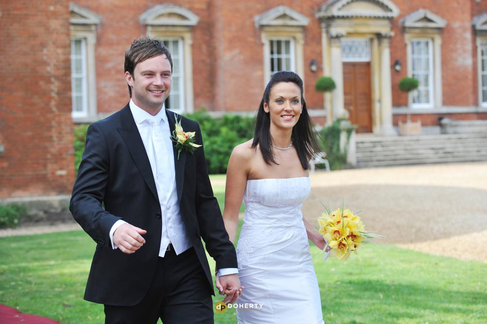 Kelmarsh Hall wedding photography with bride and groom