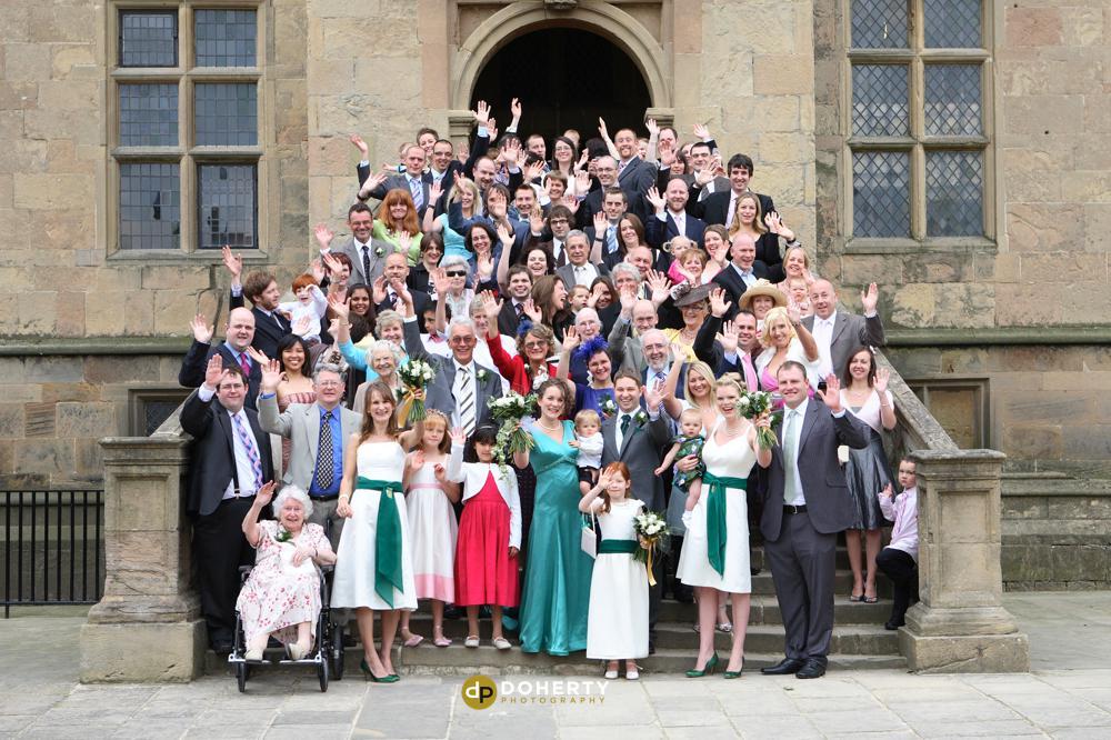 Bolsover Castle wedding large group photo