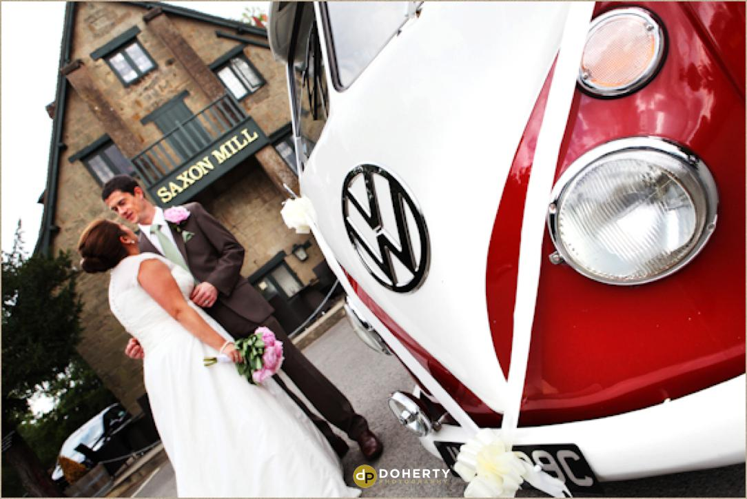 Saxon Mill wedding couple with VW campervan