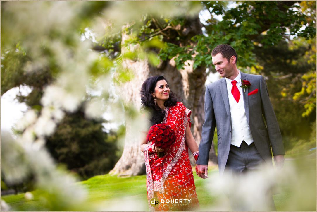 Moor Park wedding couple walking
