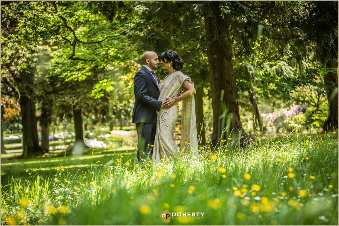 Litchfield Wedding Photography with brie and groom in a field