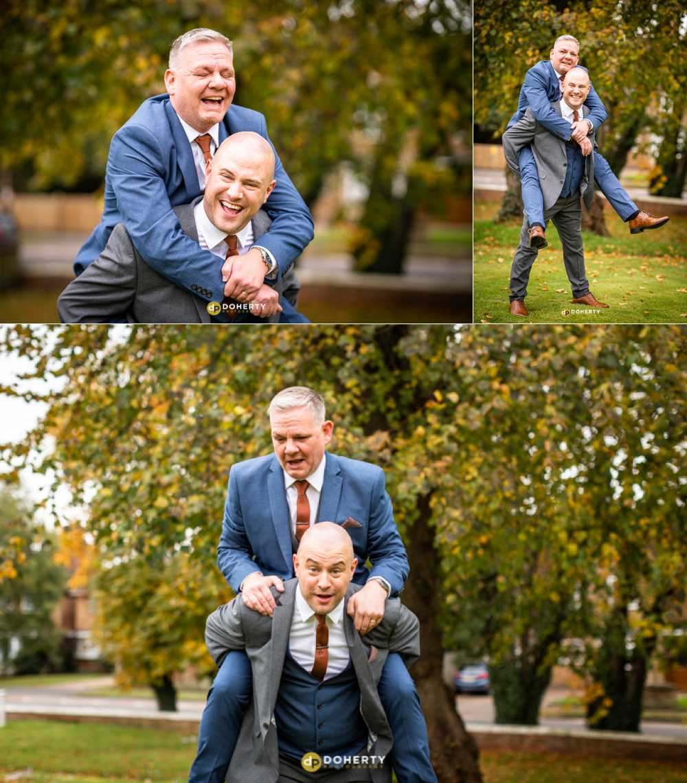 Micro Wedding Photography - couple having a piggy back