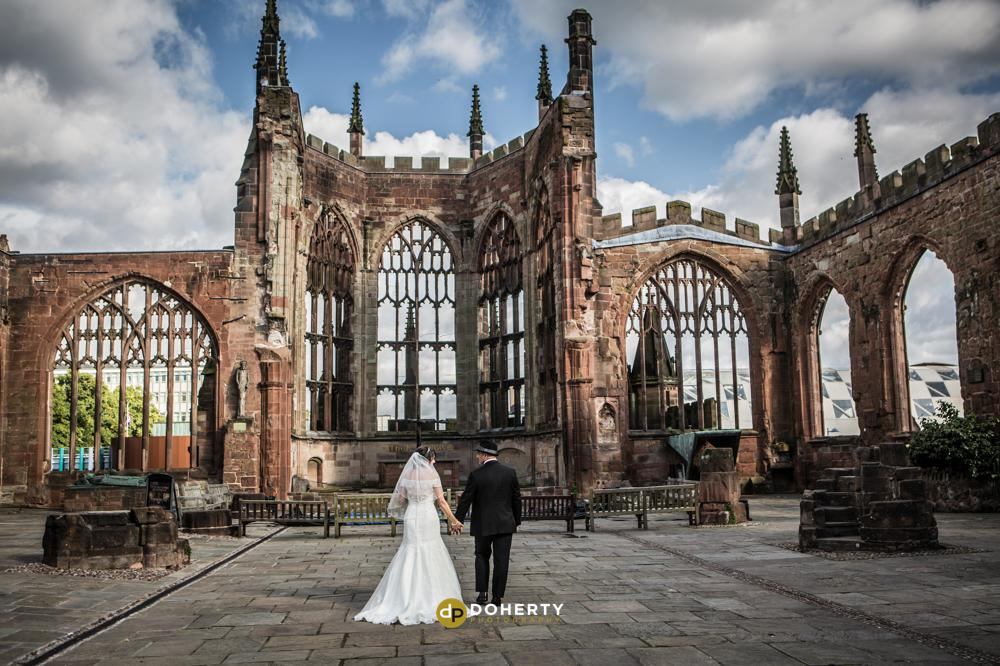 Coventry Cathedral wedding couple