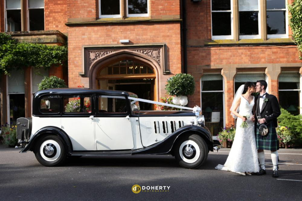 Woodside Hotel with bride and groom and wedding car