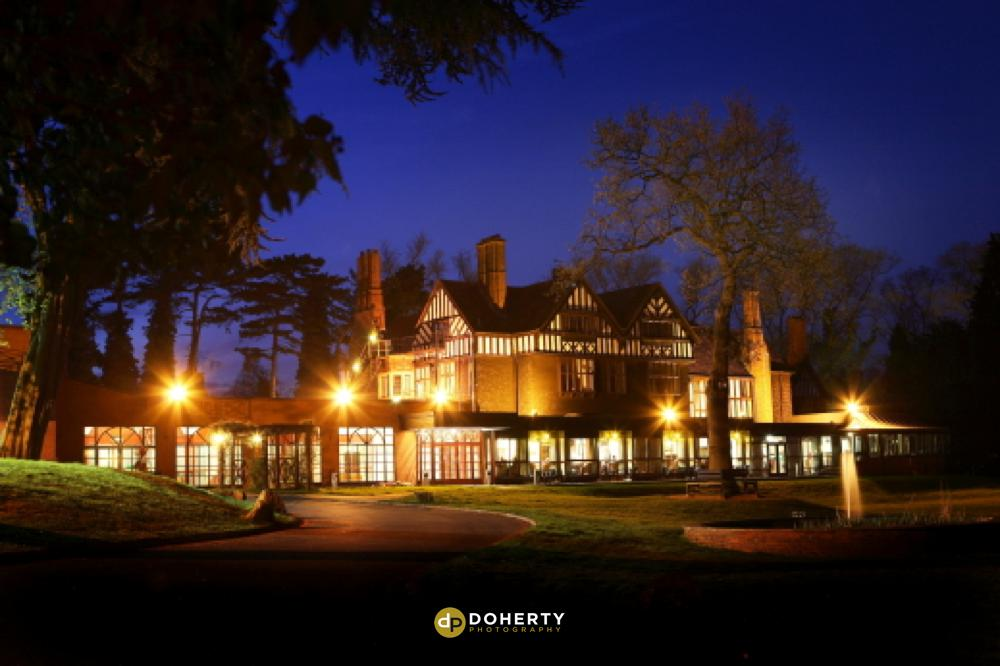 Royal Court wedding venue at night time