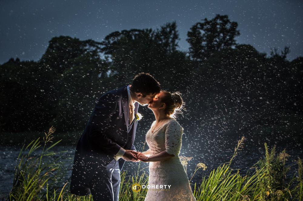 Luton Wedding photography at night time with bride and groom