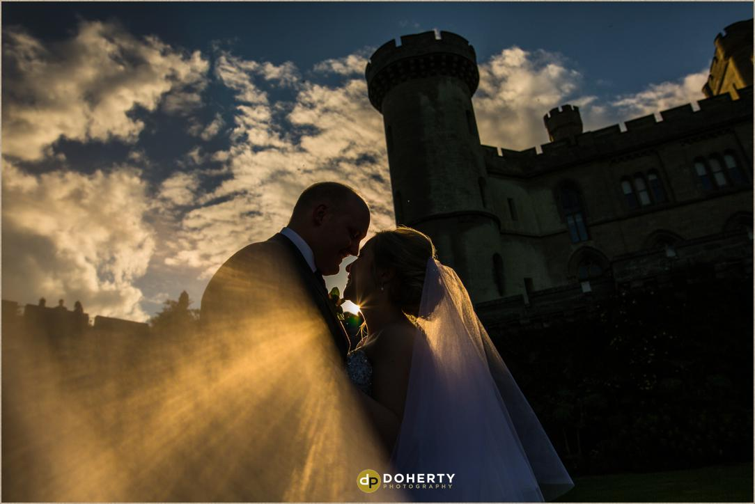 Eastnor Castle - Hertfordshire Wedding Photography at sunset