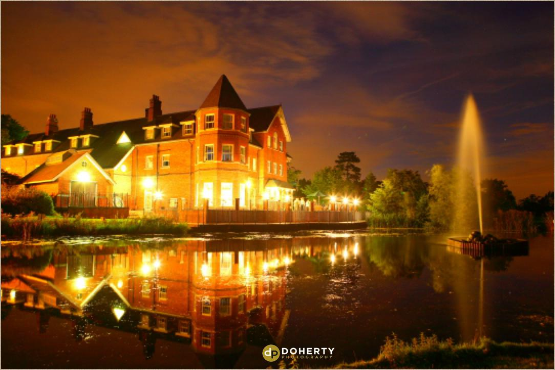 Ardencote Manor at lit up night time