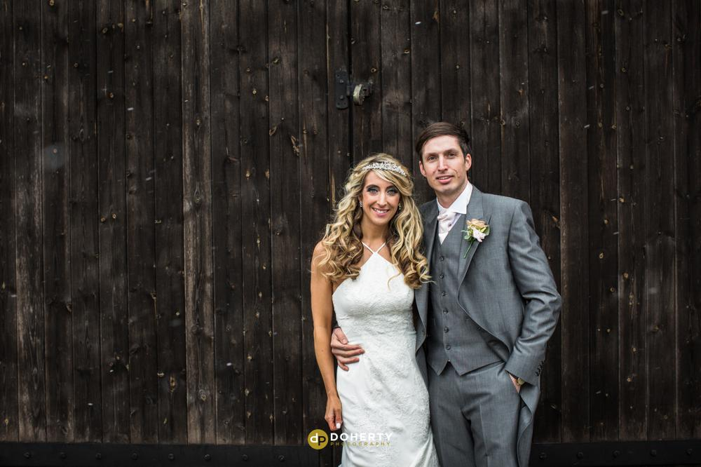 Wishaw Country Sports Barn with Bride and Groom