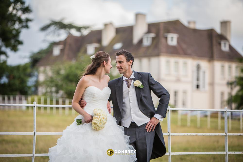 Brockencote Hall wedding with bride and groom