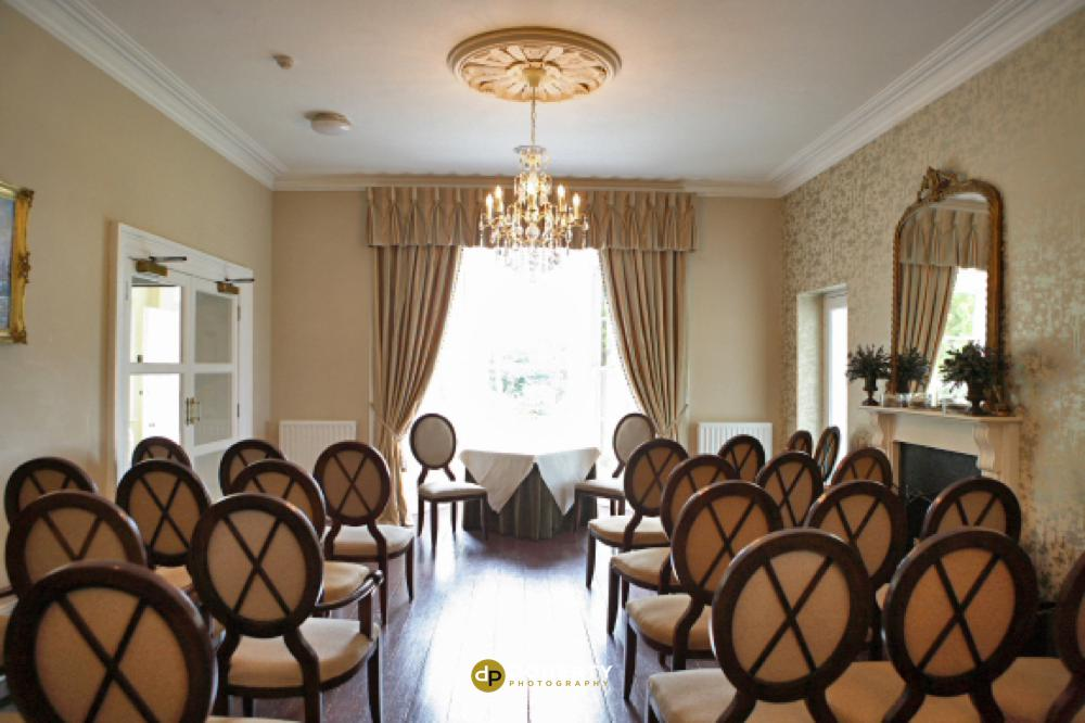 Ceremony room at the Horn of Plenty Hotel in Devon
