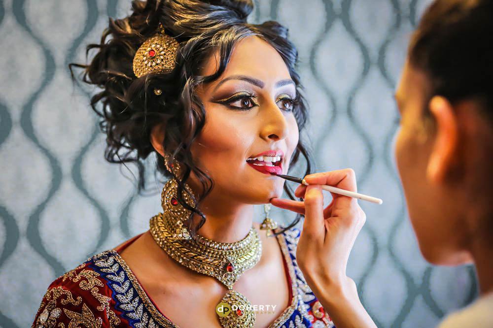 Asian wedding bride preparations