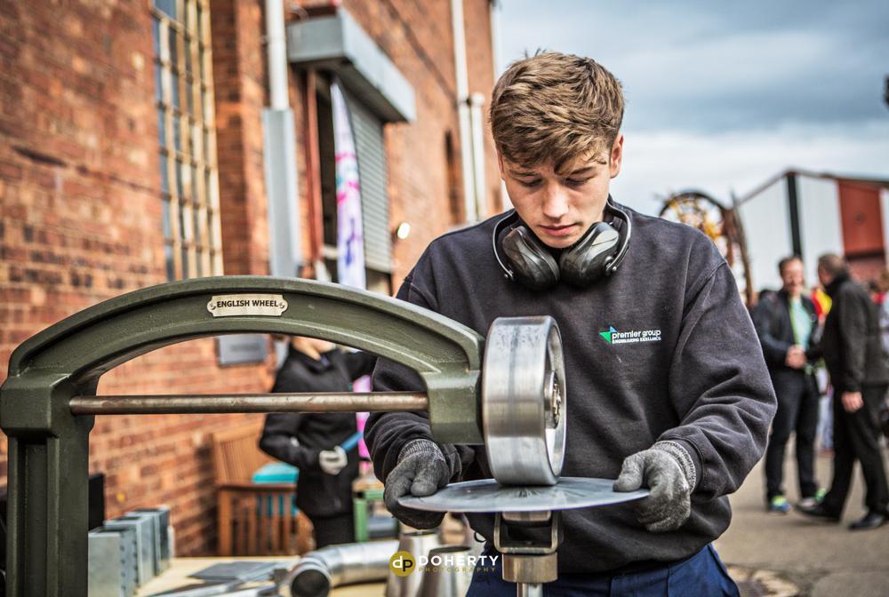 Apprentice working in engineering