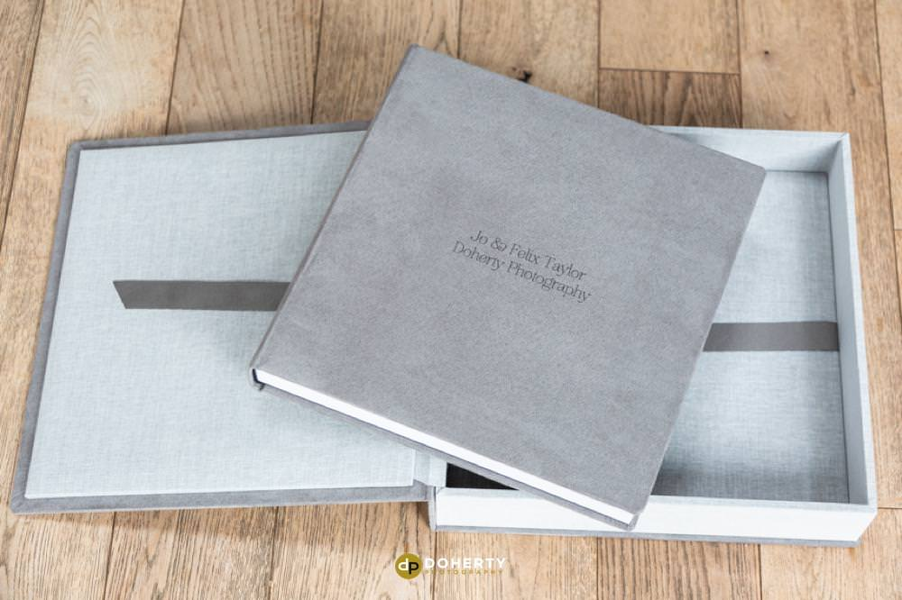 Grey suede wedding album