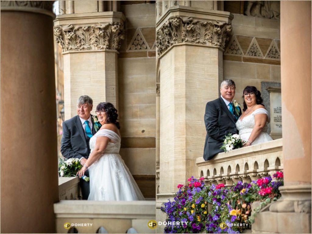 Bride and Groom on Balcony atNorthampton Guildhall Wedding Photography