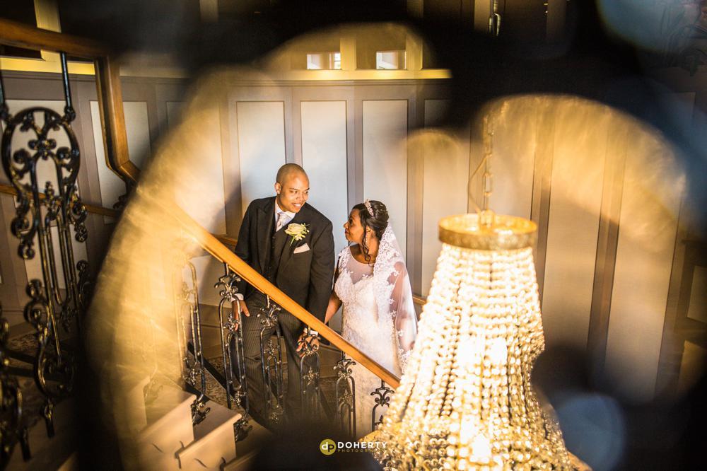 Black wedding couple on their wedding day