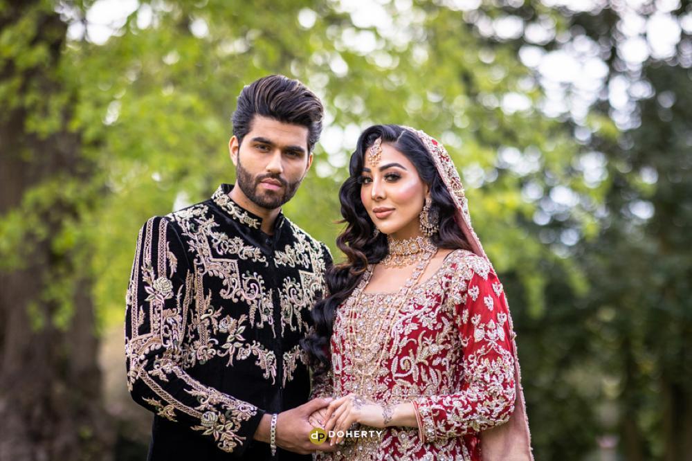 asian wedding bride and groom in birmingham